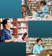 Images of three people using computers for research.