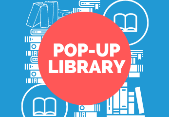 Text reading POP-UP LIBRARY